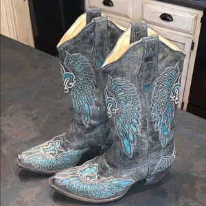PURCHASER CANCELLED Black/Turquoise Corral Boots